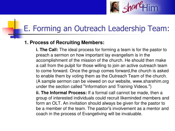 E. Forming an Outreach Leadership Team: