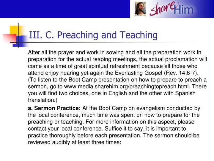 III. C. Preaching and Teaching