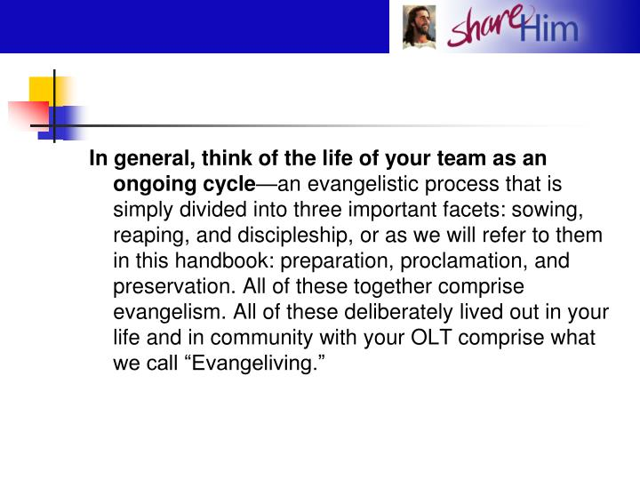 In general, think of the life of your team as an ongoing cycle