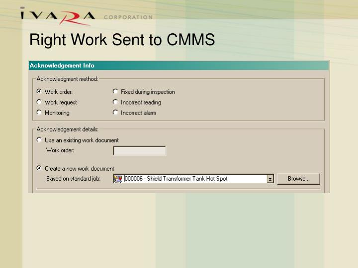 Right Work Sent to CMMS