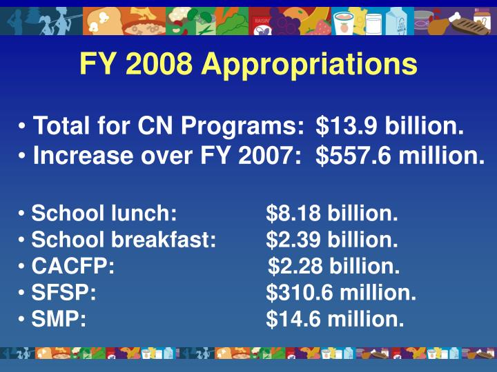 Fy 2008 appropriations