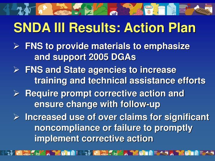 SNDA IIIResults: Action Plan