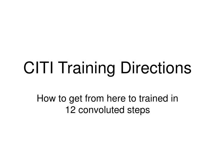 CITI Training Directions