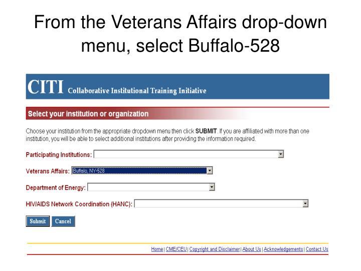 From the Veterans Affairs drop-down menu, select Buffalo-528