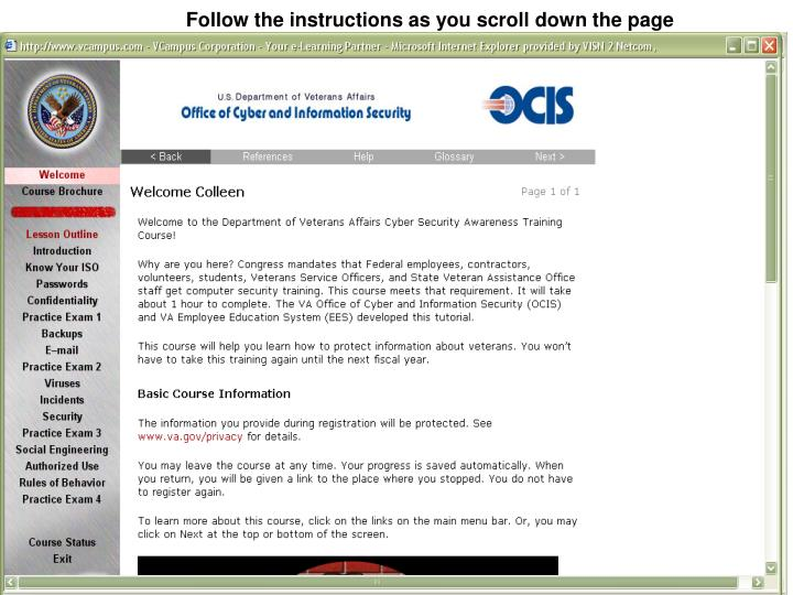 Follow the instructions as you scroll down the page