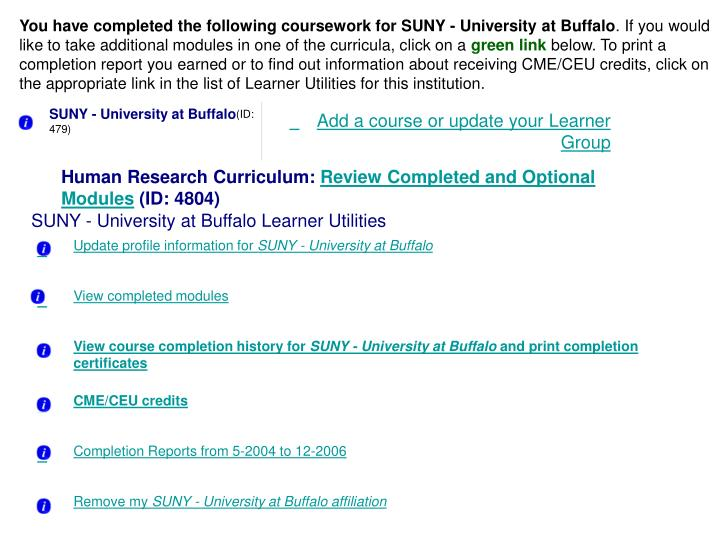You have completed the following coursework for SUNY - University at Buffalo