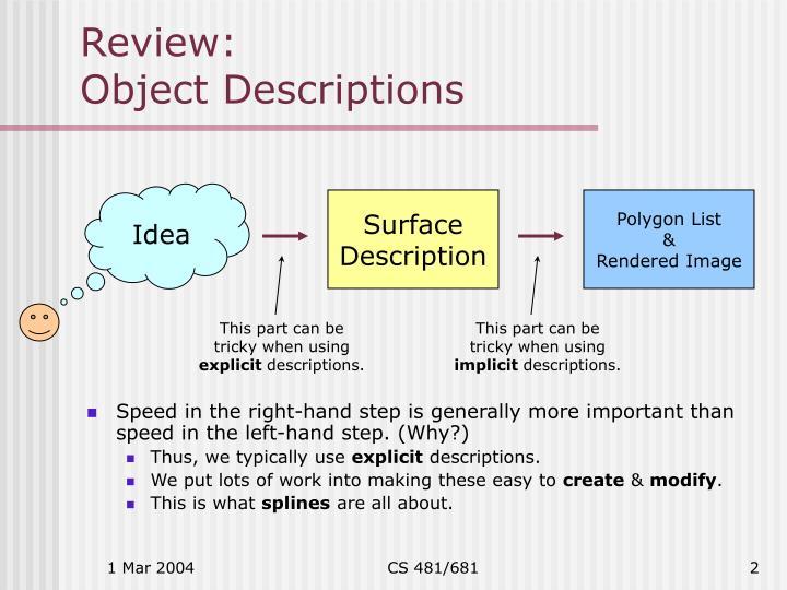 Review object descriptions
