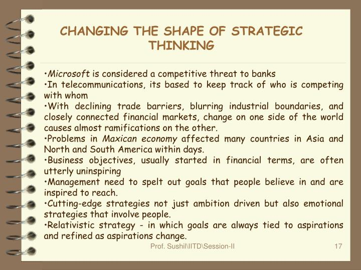 CHANGING THE SHAPE OF STRATEGIC THINKING