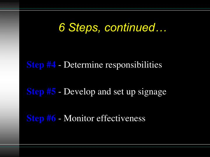 6 Steps, continued…