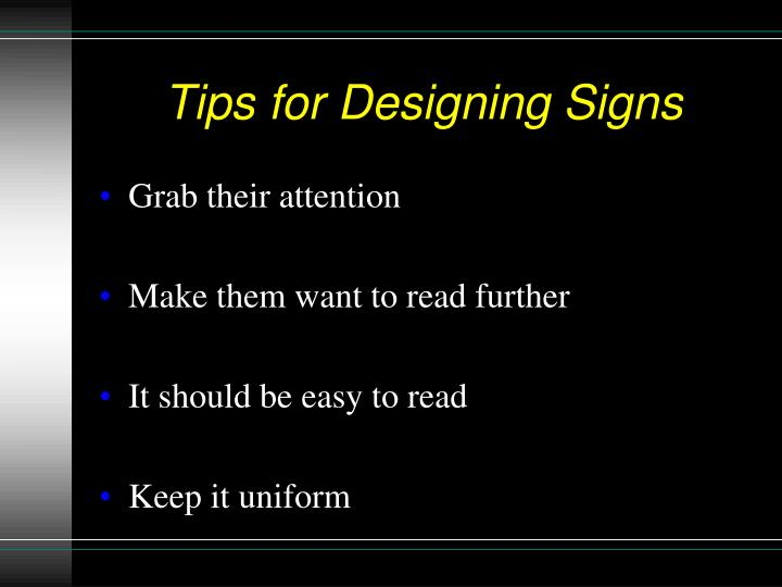 Tips for Designing Signs