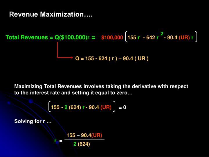 Revenue Maximization….