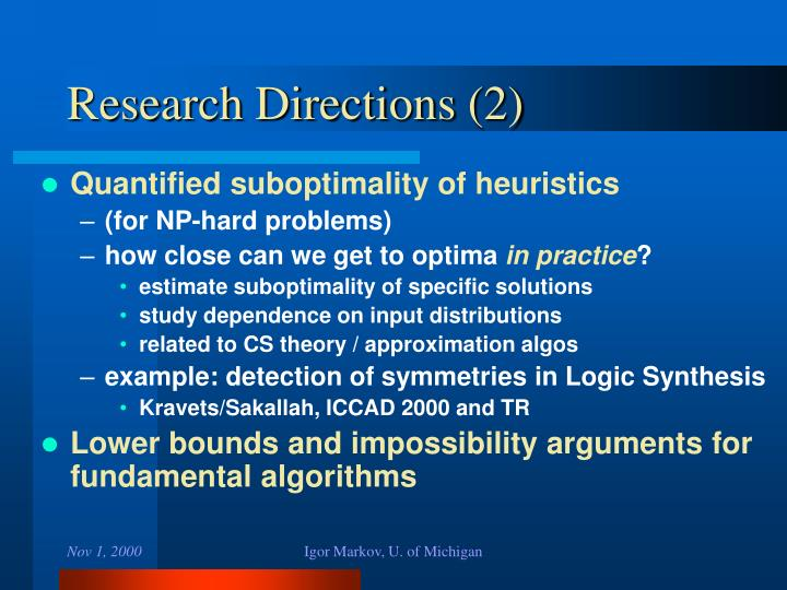 Research Directions (2)