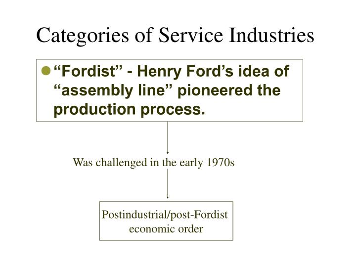 Categories of service industries