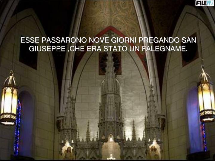ESSE PASSARONO NOVE GIORNI PREGANDO SAN GIUSEPPE ,CHE ERA STATO UN FALEGNAME