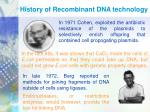 history of recombinant dna technology