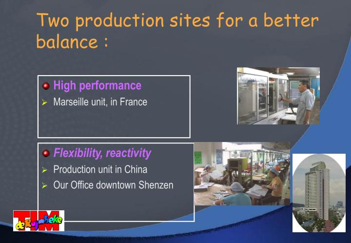 Two production sites for a better balance :