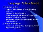 language culture bound