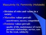 masculinity vs femininity hofstede