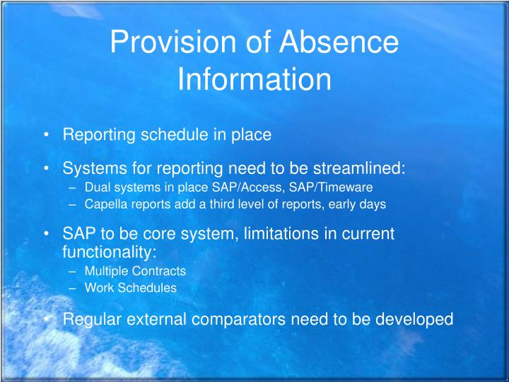 Provision of Absence Information