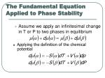 the fundamental equation applied to phase stability