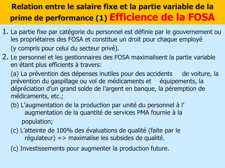 Relation entre le salaire fixe et la partie variable de la prime de performance (1)