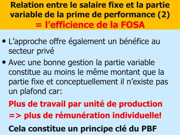 Relation entre le salaire fixe et la partie variable de la prime de performance (2)
