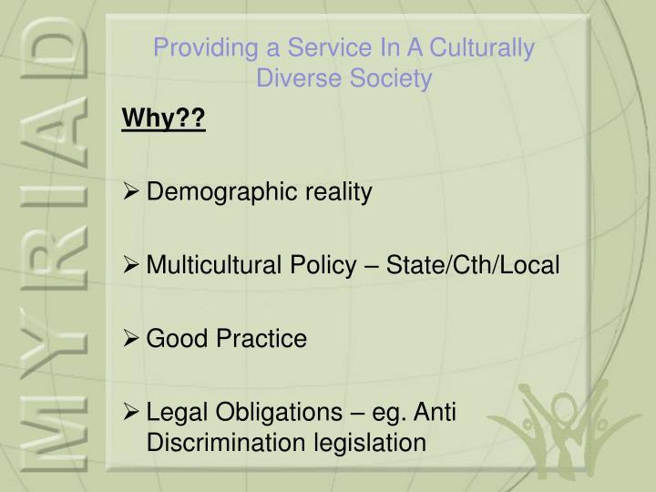 Providing a service in a culturally diverse society