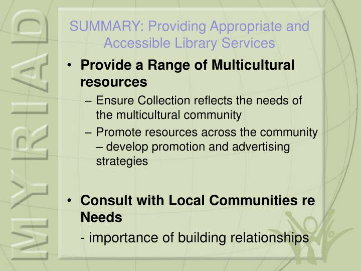 Provide a Range of Multicultural resources