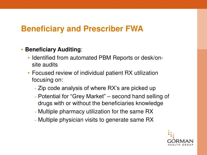Beneficiary and Prescriber FWA