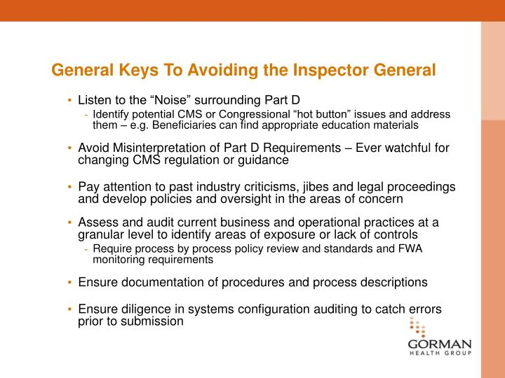 General Keys To Avoiding the Inspector General