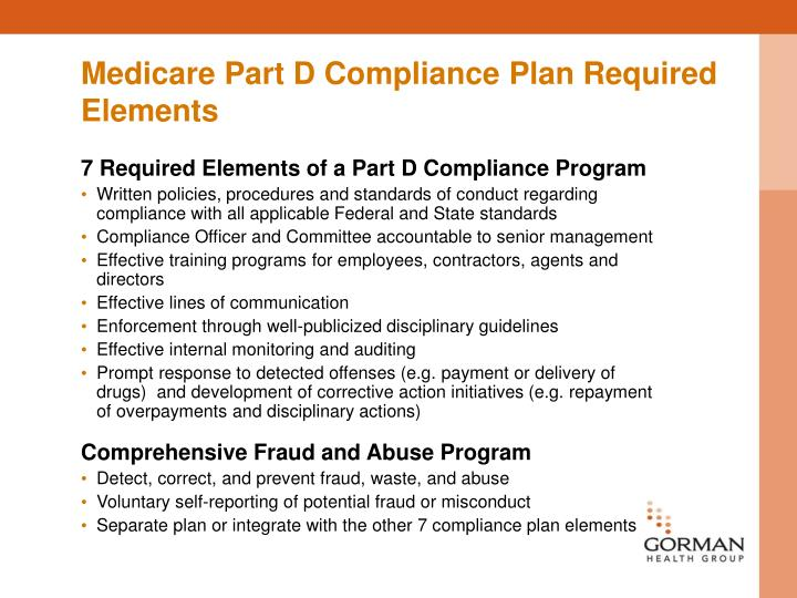 Medicare Part D Compliance Plan Required Elements
