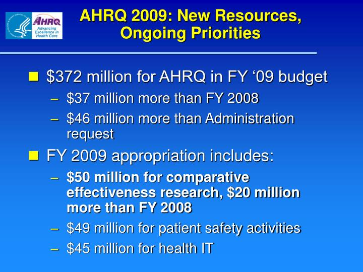 AHRQ 2009: New Resources,