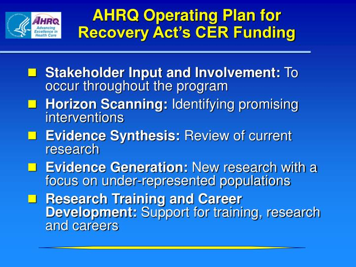 AHRQ Operating Plan for Recovery Act's CER Funding