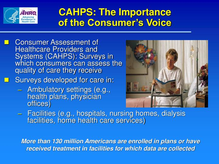 CAHPS: The Importance                of the Consumer's Voice