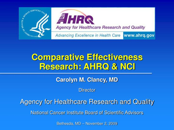 Comparative effectiveness research ahrq nci