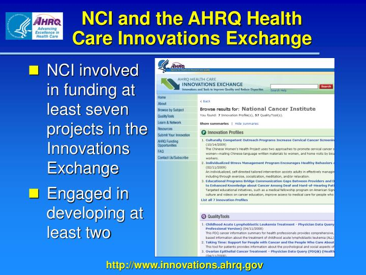 NCI and the AHRQ Health Care Innovations Exchange