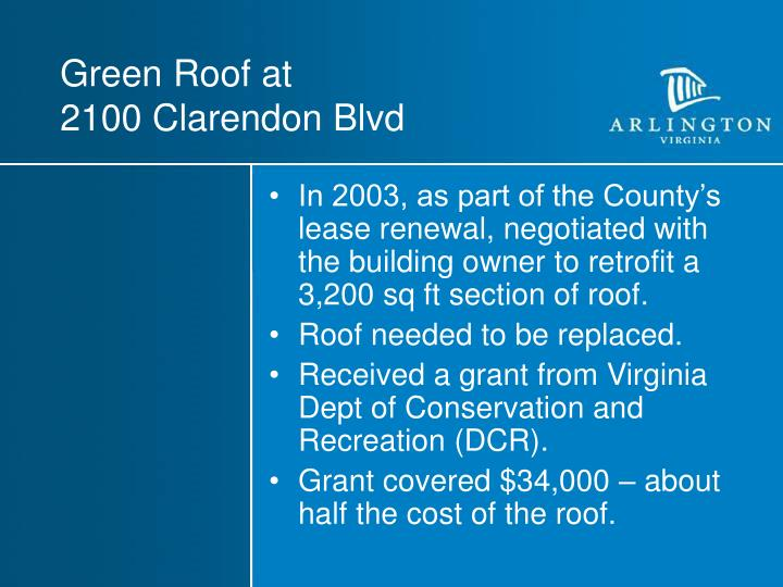 Green roof at 2100 clarendon blvd