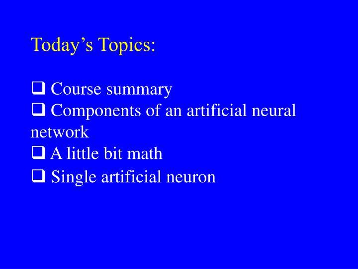 Today's Topics: