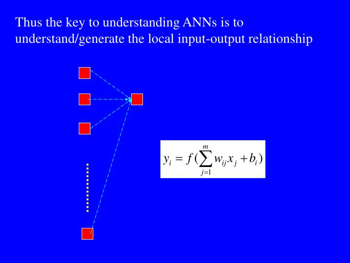 Thus the key to understanding ANNs is to understand/generate the local input-output relationship