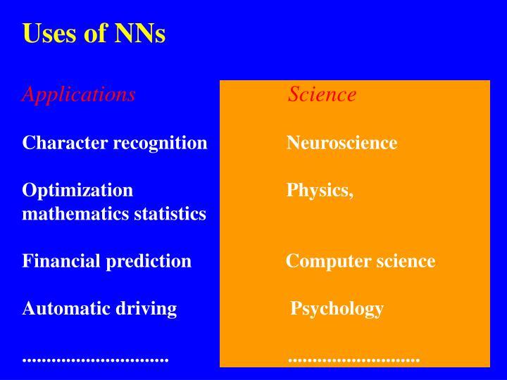 Uses of NNs