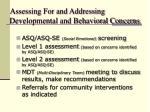 assessing for and addressing developmental and behavioral concerns
