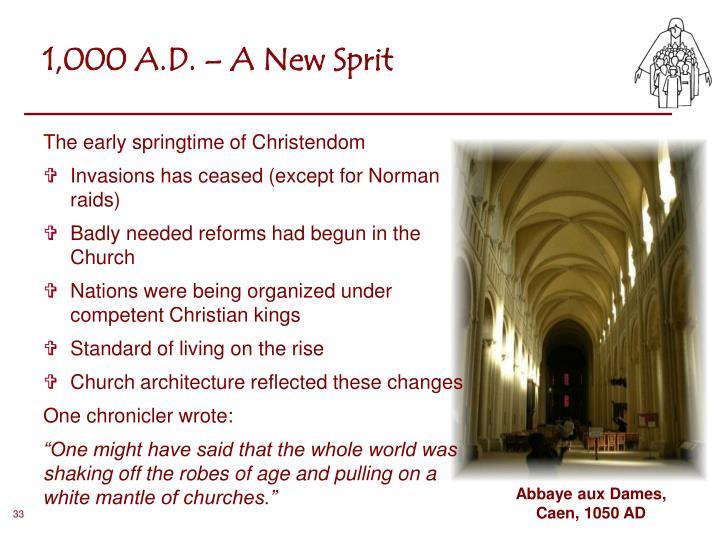 1,000 A.D. – A New Sprit
