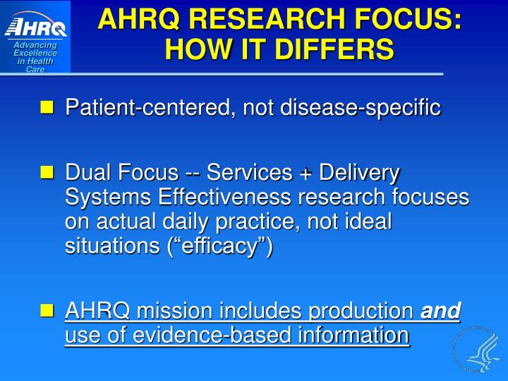 AHRQ RESEARCH FOCUS: