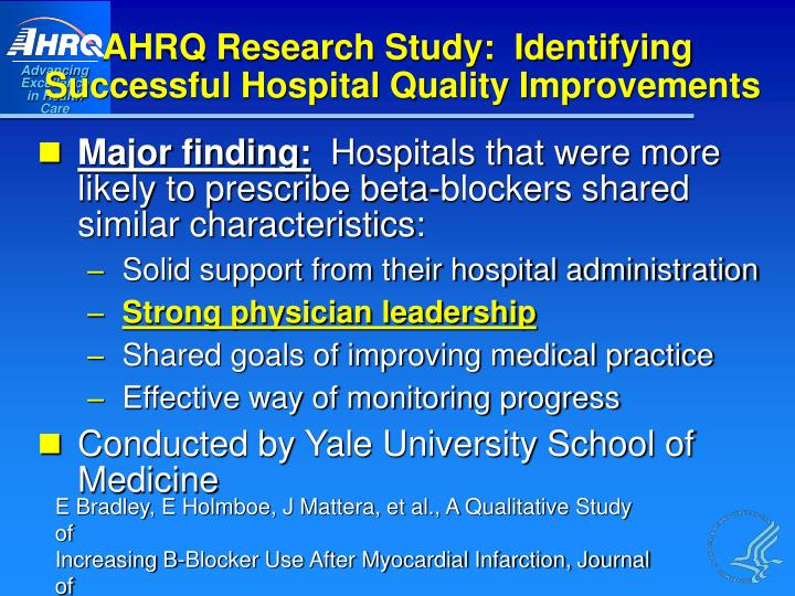 AHRQ Research Study:  Identifying