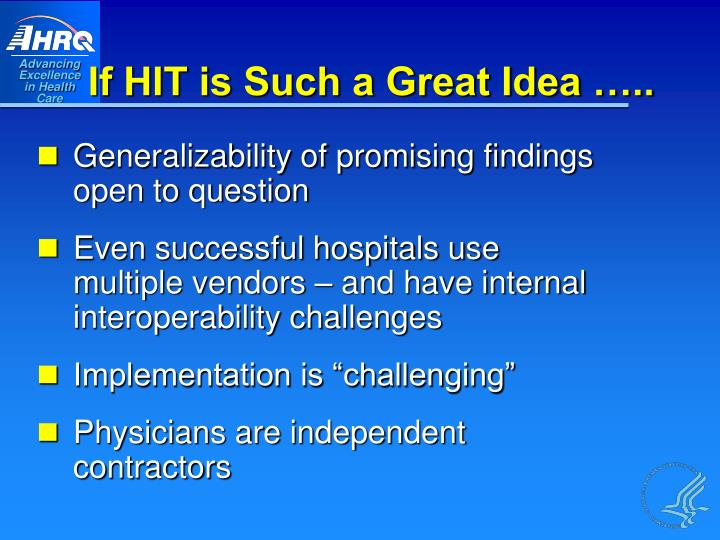 If HIT is Such a Great Idea …..