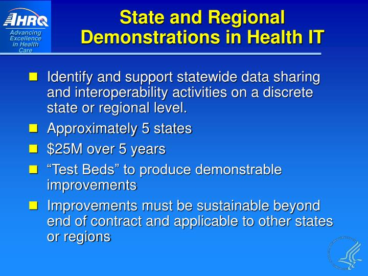 State and Regional Demonstrations in Health IT