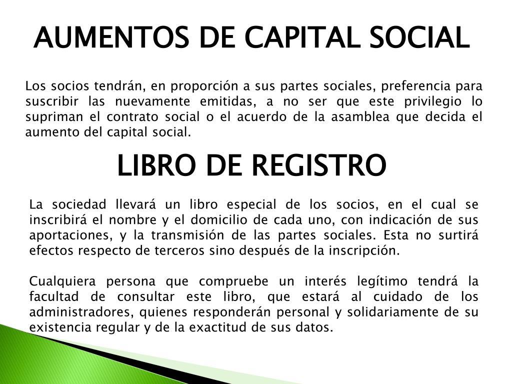 AUMENTOS DE CAPITAL SOCIAL