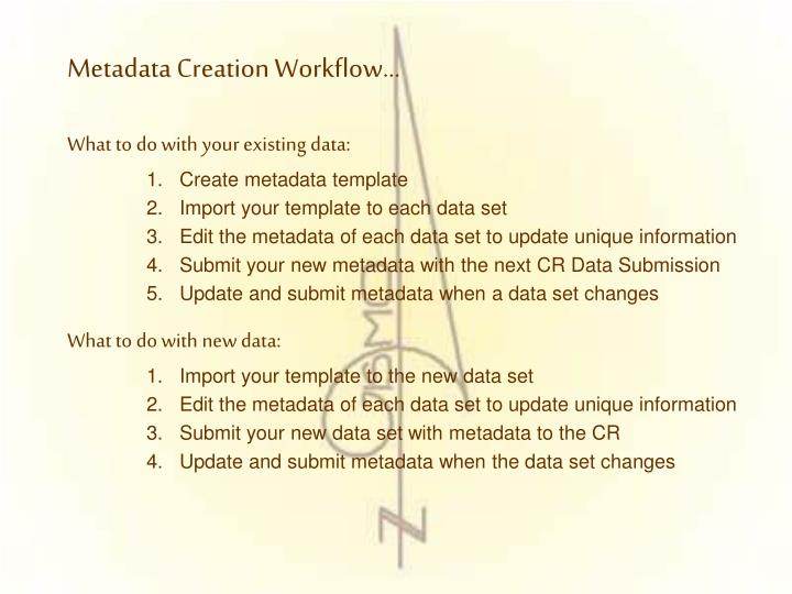 Metadata Creation Workflow…
