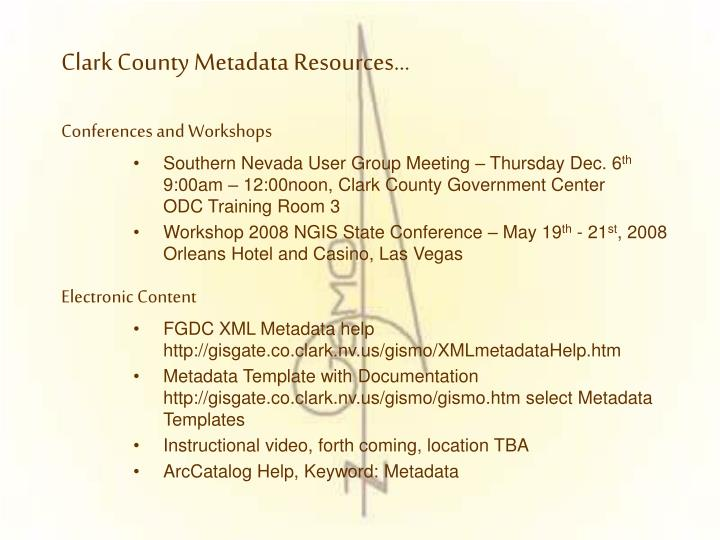 Clark County Metadata Resources…