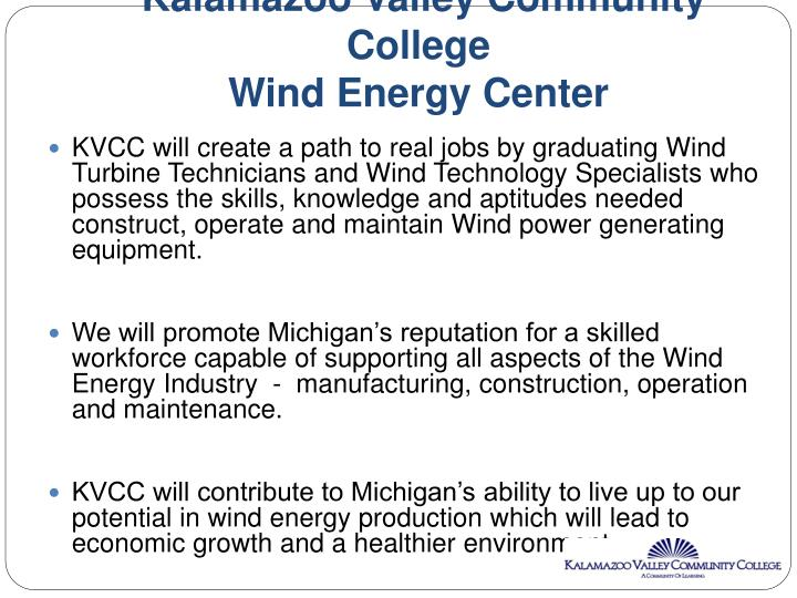 Kalamazoo valley community college wind energy center